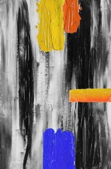 新中式油彩油墨布艺黑白色装饰画
