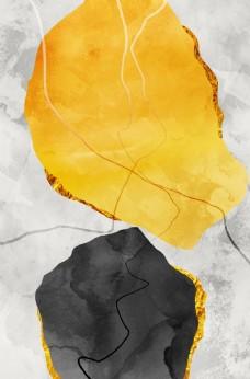 新中式爵士白大理石纹装饰画