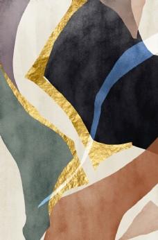 新中式鎏金金箔色块拼接装饰画