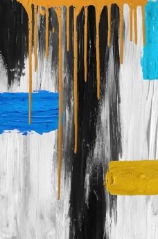 新中式油墨涂鸦油彩水流装饰画