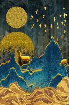 新中式鎏金金色山水金箔装饰画