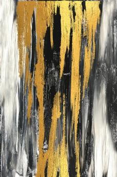 新中式金箔涂鸦黑白色装饰画