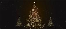 金色圣诞树节日背景海报素材