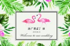 白色火烈鸟森系婚礼