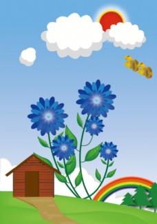 蓝花朵矢量图