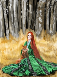 草地上抱狐貍的穿綠衣服的女人