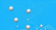 蓝底白色星球分子结构科技素材