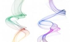 手绘新中式抽象彩色烟雾线条