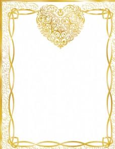 金色爱心边框信纸矢量素材