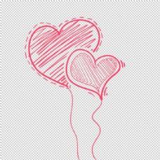 手绘爱心气球免抠设计元素