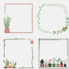 手绘扁平植物边框 对话框 线条