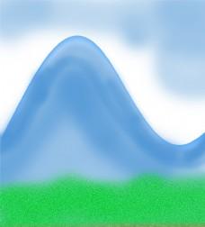 山 绿地 白云背景