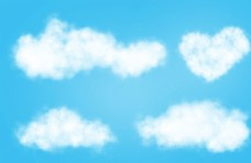 云朵 爱心云 手绘分层素材