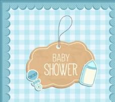 可爱婴儿洗澡卡