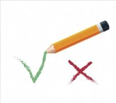 检查标记和铅笔