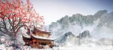 寺廟水墨壁畫國風古風背景素材