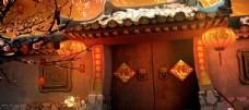 春节乡下建筑节日国风古风背景