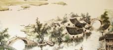 古鎮水墨壁畫國風古風背景素材