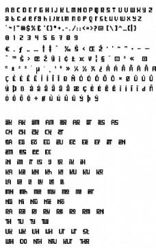 黑白方塊英文字體
