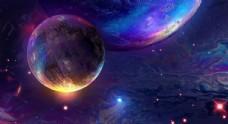 彩色宇宙星球炫光背景