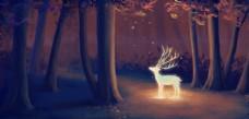 小鹿夢幻森林合成海報素材