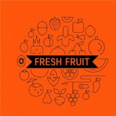水果 线条 创意 设计 橙色