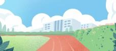 卡通手绘校园广场背景