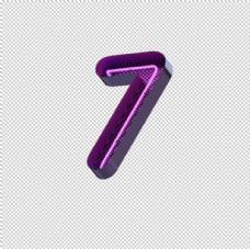 高清立体紫色霓虹灯字母数字元素