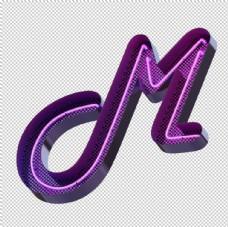 高清立体紫色霓虹灯字母元素