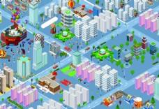 俯瞰城市交通卡通画