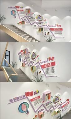 以书养德校园楼梯文化墙图片