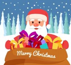 卡通圣诞老人与大礼包矢量