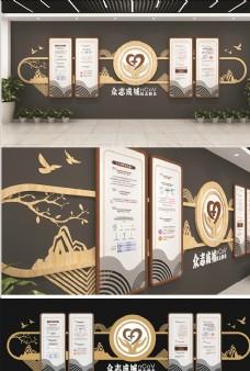 中式木纹山水新冠疫情医疗文化墙图片