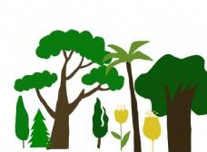 树木树叶手绘插画