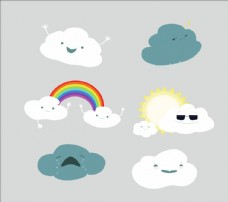 卡通云朵矢量圖