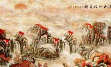 石紋山水背景墻圖片