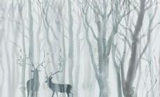 森林麋鹿背景墻
