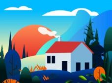 森林房子插画
