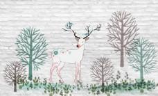 麋鹿背景墙