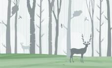 森林麋鹿背景墙