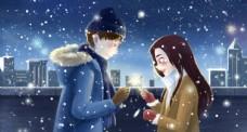 冬季情侣人物插画卡通背景
