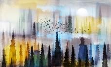 油画 抽象 风景背景墙