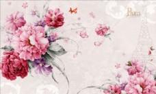 玫瑰 牡丹花背景墙