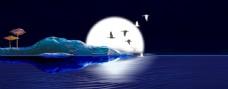 中秋节简约蓝色海面背景素材