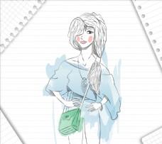手绘时髦女人