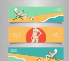 夏日海滩横幅图片