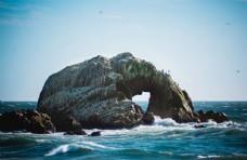 海边岩石波浪自然背景素材