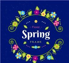 春季花环框架矢量图片