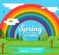 春季郊外彩虹风景图片