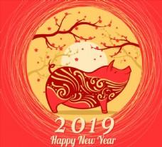 樹木花紋新年背景圖片